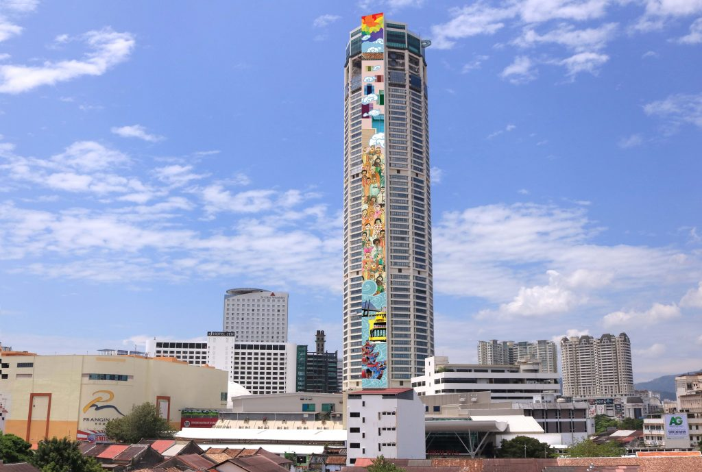 Komtar with mural